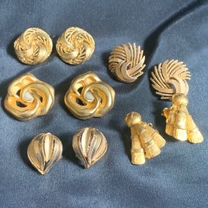 Set of 5 Vintage Gold Tone Clip On Earrings